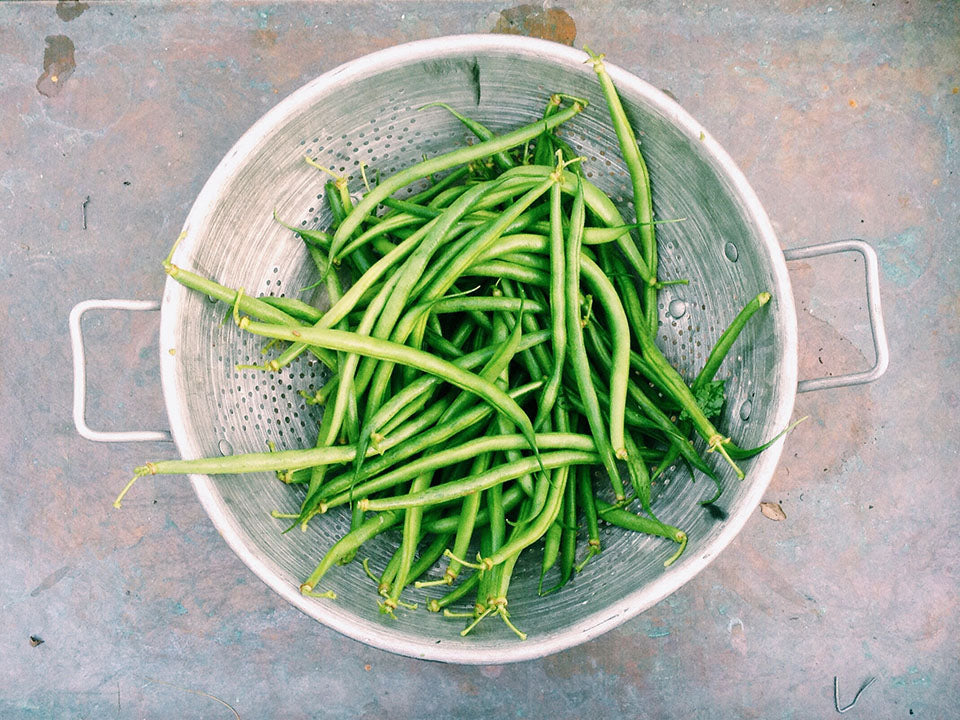 String beans in a strainer