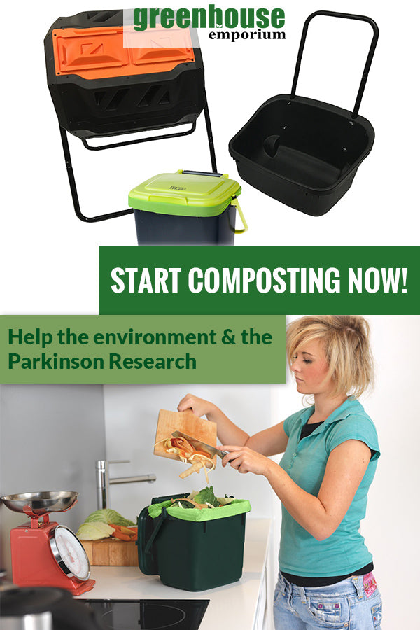 RSI Tumbler Composter with a black cart on the right, bin in the middle and green corn bags and below is a woman pouring compost inside the bin with the text saying Start composting now! Help the environment & the Parkinson Research
