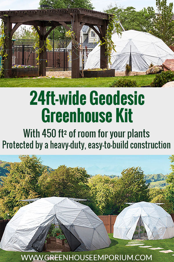 Three geodesic greenhouses with the text in the middle: 24ft-wide Geodesic Greenhouse Kit - With 450ft² of room for your plants, protected by a heavy-duty, easy-to-build construction