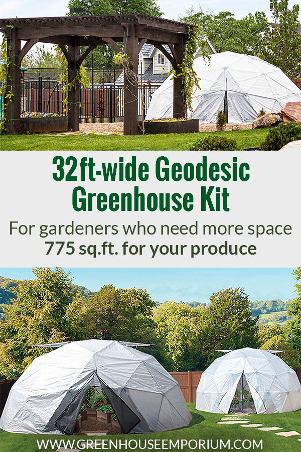 Three geodesic greenhouses with the text in the middle: 32ft-wide Geodesic Greenhouse Kit - For gardeners who need more space, 775sq.ft. for your produce