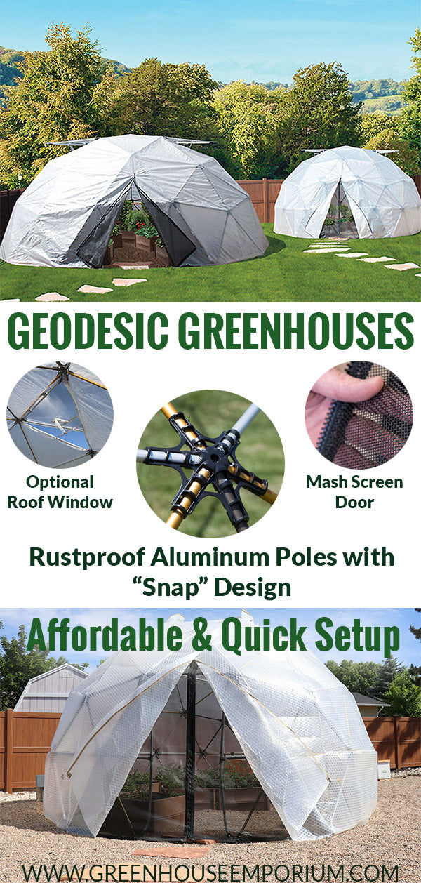 Displaying three Geodesic Dome Greenhouses with small circular images that show the 3 main features (construction, mash door, ventilation) explained by text
