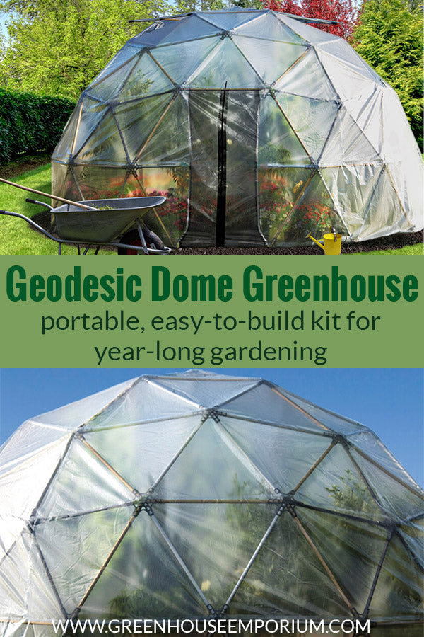 Two geodesic greenhouses with the text in the middle: Geodesic Dome Greenhouse - portable, easy-to-build kit for year-long gardening