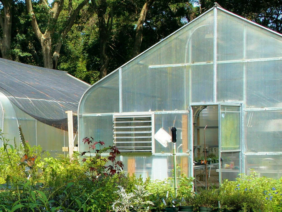 Front view of a greenhouse showing coverings on door and window