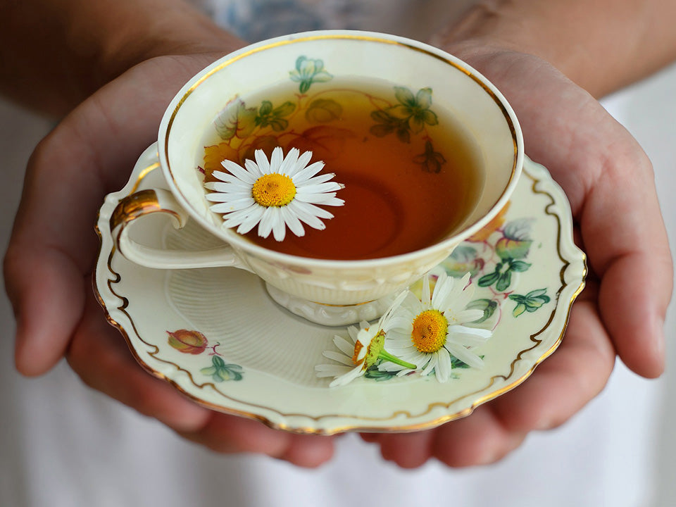 Chamomile tea served with chamomile flower as garnish