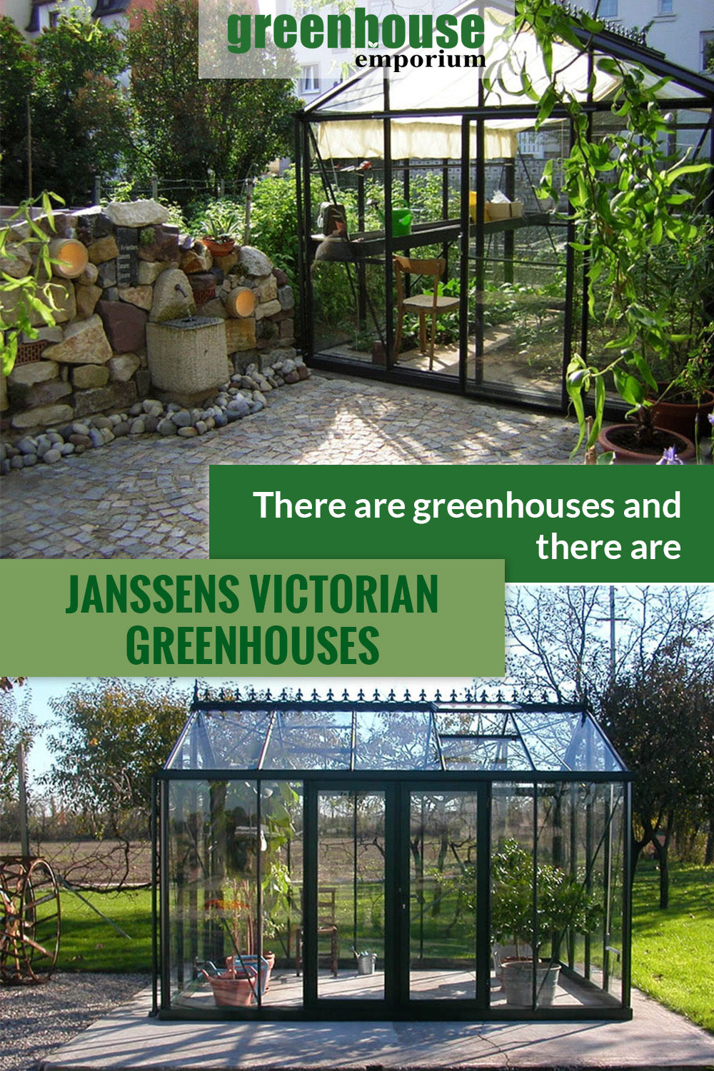 Janssens Greenhouse image above shows the front view with plants and shade cloths inside. Below shows the whole greenhouse with plants inside. The text says There are greenhouses and there are Janssens Victorian Greenhouses