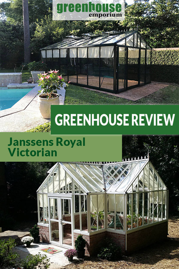 Two Royal Victorian greenhouses with the text: Greenhouse Review - Janssens Royal Victorian