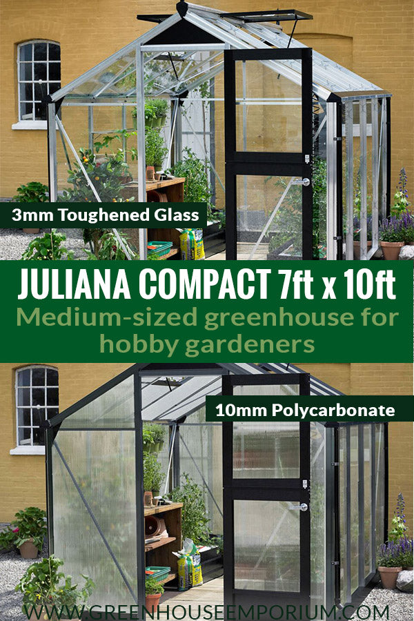 Two Juliana Compact 7ft x 10ft with the text: Juliana Compact 7ft x 10ft - Medium-sized greenhouse for hobby gardeners