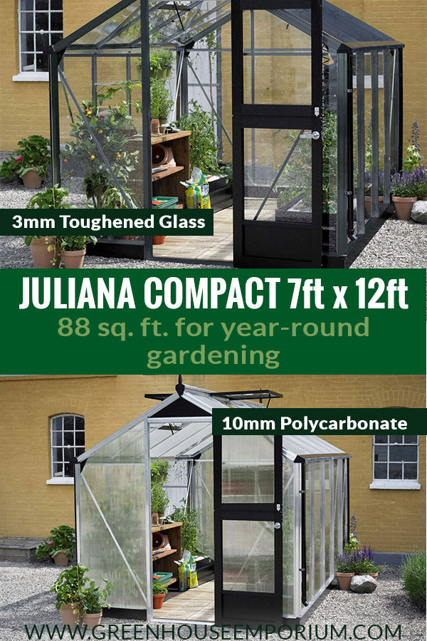 3mm toughened glass above and 10mm Polycarbonate below with the text in the middle saying Juliana Compact 7ft x 12ft 88 sq.ft. for year-round gardening