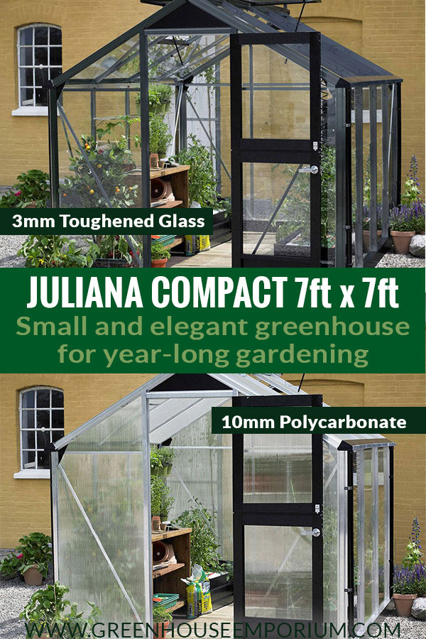Two Juliana Compact 7ft x 7ft with the text: Juliana Compact 7ft x 7ft - Small and elegant greenhouse for year-long gardening