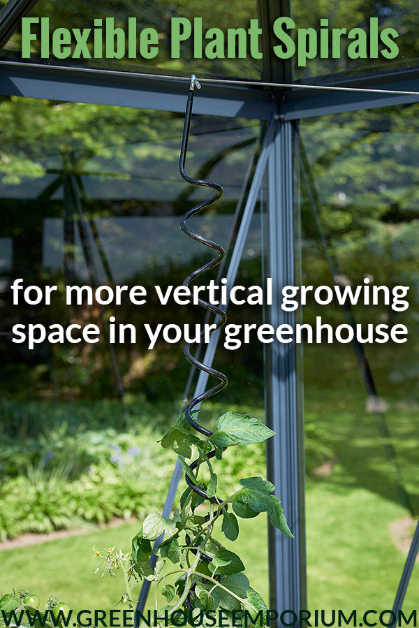 Plant spiral from Juliana with the text: Flexible Plant Spirals - For more vertical growing space in your greenhouse
