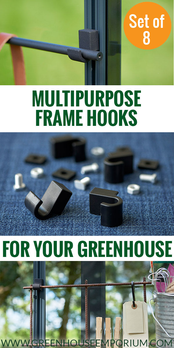 Photos of the greenhouse frame hooks from Juliana with the text: Multipurpose frame hooks for your greenhouse