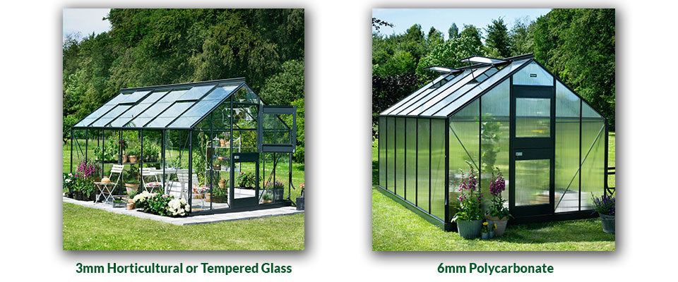 Two photos of Juliana Junior Greenhouses show the difference between 3mm glass and 6mm Polycarbonate glazing
