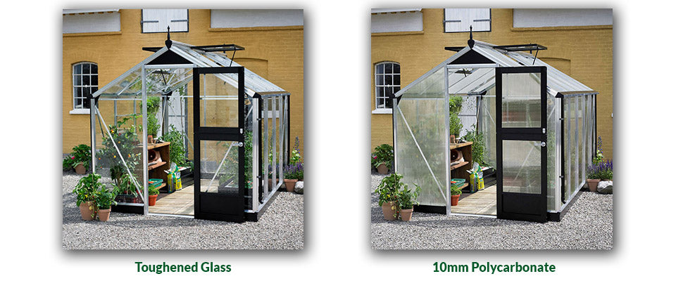Juliana greenhouses show the difference with glass and Polycarbonate glazing