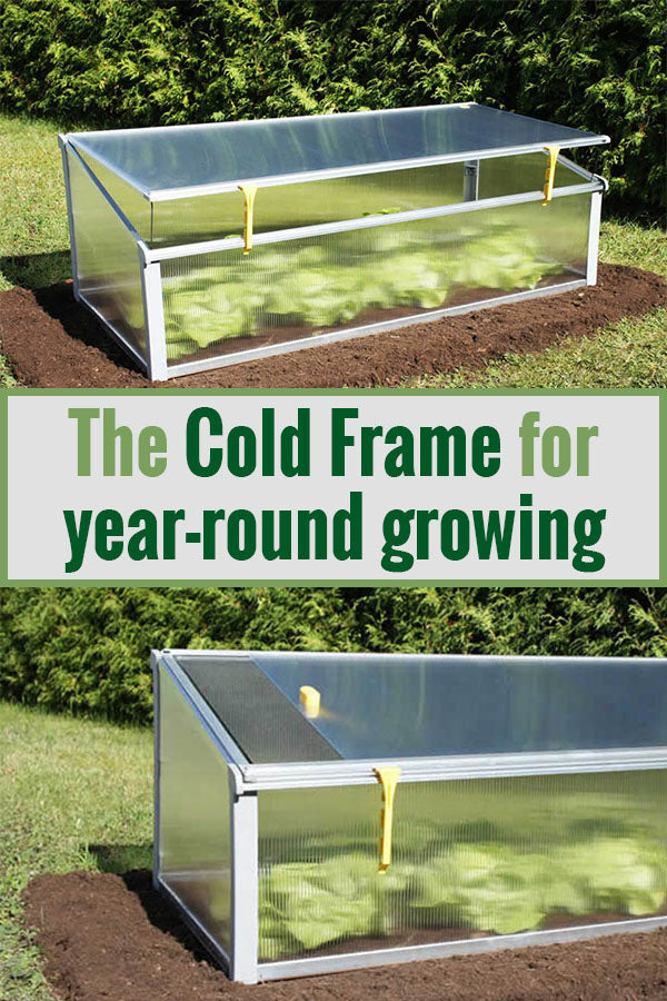 Slightly opened Juwel Year-Round Cold Frame above and fully opened cold frame below with the text in the middle saying Year-round gardening for small spaces with the Jewel Cold Frame