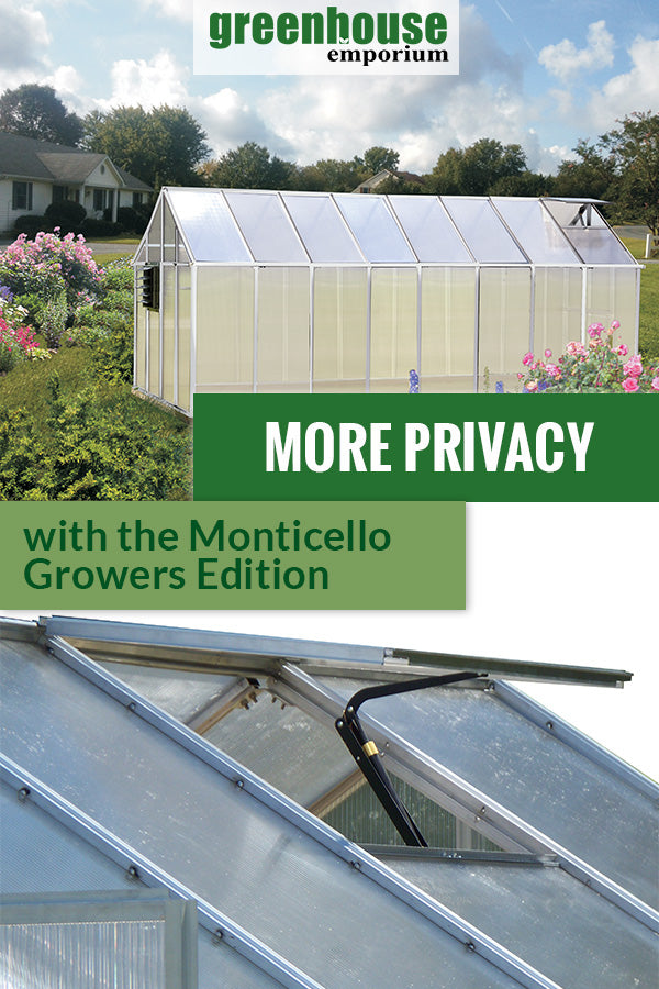 Monticello Growers Edition Greenhouse set up above shows the side view. Below is an automatic roof vent.