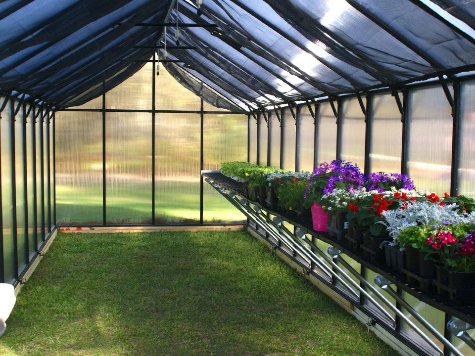 Interior of a Monticello Polycarbonate Greenhouse Kit