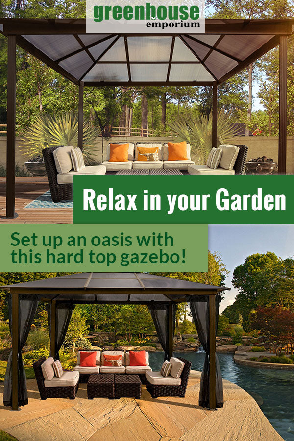 Fully set up Paragon Madrid Hard Top Gazebo 10ft x 13ft showing interior roof, below is a fully set up gazebo by the pool with the text: Relax in your garden - Set up an oasis with this hard top gazebo
