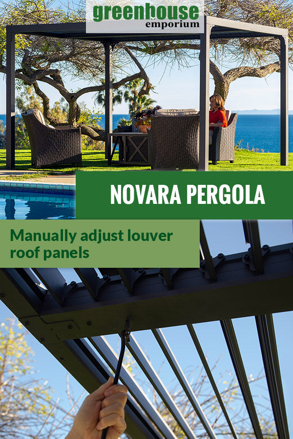 Paragon Novara set up in a garden with a sofa set under it. Below is someone manually adjusting the louver. The text in the middle says Novara Pergola Manually adjust louver roof panel