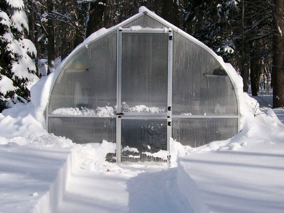 Riga Greenhouse review with lots of snow around