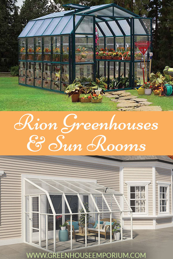 Displaying two different Rion Greenhouse styles (barn-style and lean-to/sunroom with text saying: Rion Greenhouses & Sun Rooms