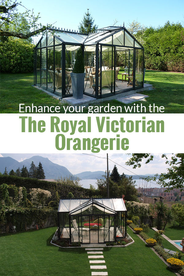 Janssens T-Shaped Royal Victorian Orangerie 10ft x 16ft set up in a beautiful garden with great landscapes and below is a front view with the text in the middle saying  Enhance your garden with The Royal Victorian Orangerie