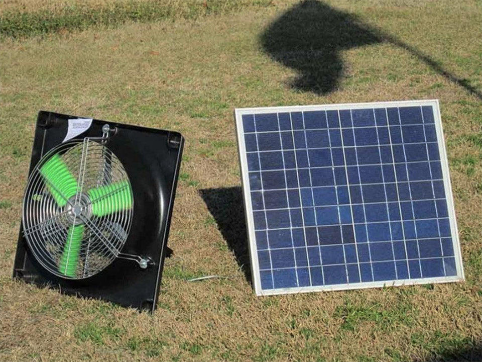 Solar panel and fan on the grass