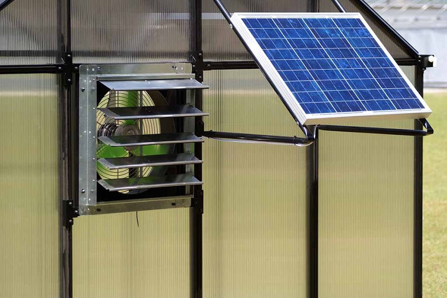 Solar-powered fan installed on a greenhouse