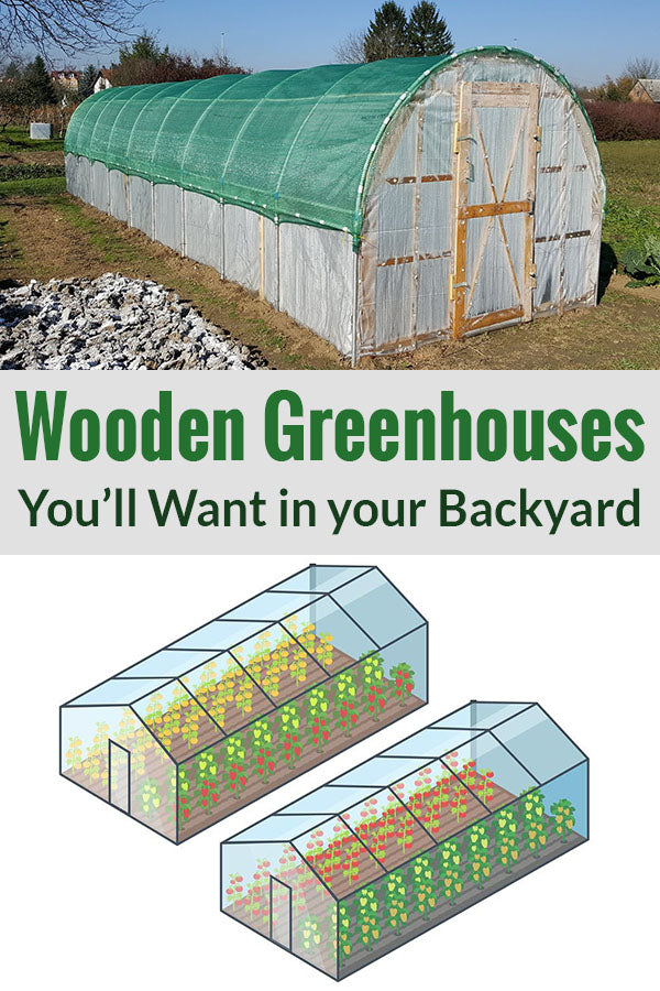 Wooden Greenhouse structure on top and a graphic of a greenhouse structure at the bottom with the text in the middle