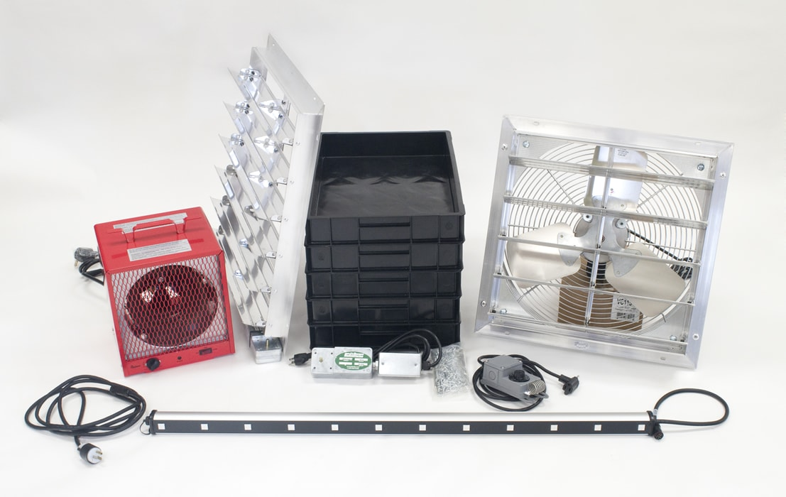Riga XL Pro Accessory Kit: 24in in-take shutter vent, 3 sets of professional LED Grow Lights, 1 20in exhaust fan, Thermostat to control vent & fan,17,500 BTU 220 V heater,5 heavy duty seed trays,10 stainless steel hooks & 10 heavy duty plastic
