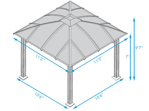 Paragon Cambridge Hard Top Gazebo 12ft x 12ft Dimensions