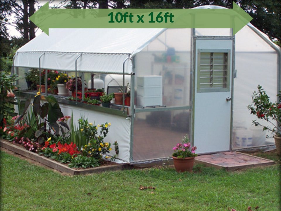 Riverstone Industries (RSI) 10ft x 27ft Carver Educational Greenhouse  R1027-P - full view - green arrow on top with dimensions - in a garden - fully set up