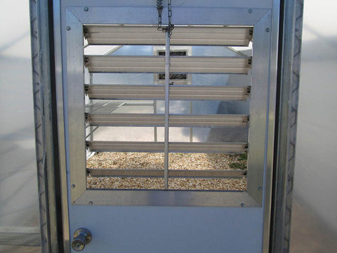 Riverstone Industries (RSI) 10ft x 27ft Carver Educational Greenhouse  R1027-P - insulated metal security door - close up view