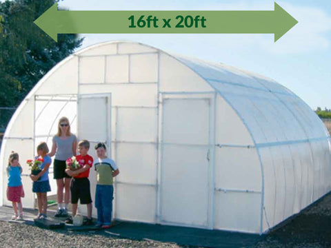 Image of Solexx 16ft x 20ft Conservatory Greenhouse G-320 - full view - people are outside - green arrow on top showing dimensions