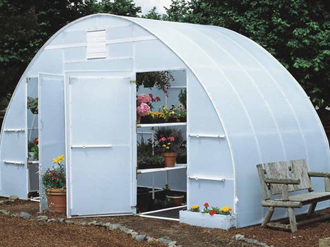 16ft x 8ft Conservatory Greenhouse - open doors with plants and flowers inside