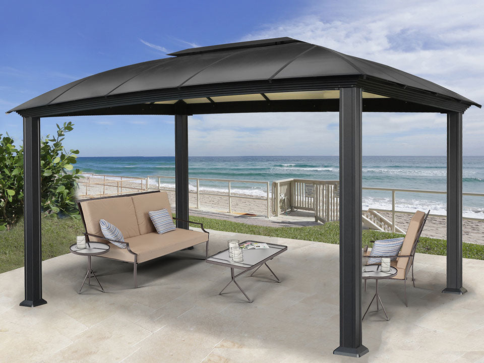 Paragon Cambridge Hard Top Gazebo 12ft x 16ft  with living room settings
