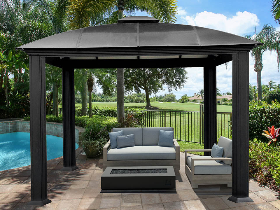 Paragon Cambridge Hard Top Gazebo 12ft x 12ft with living room setting