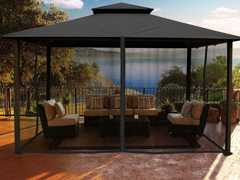 Kingsbury Gazebo with Grey Top and Closed Mosquito Netting