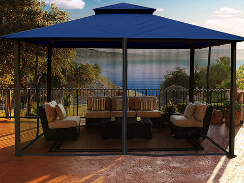 Kingsbury Gazebo with Navy Top and  Closed Mosquito Netting