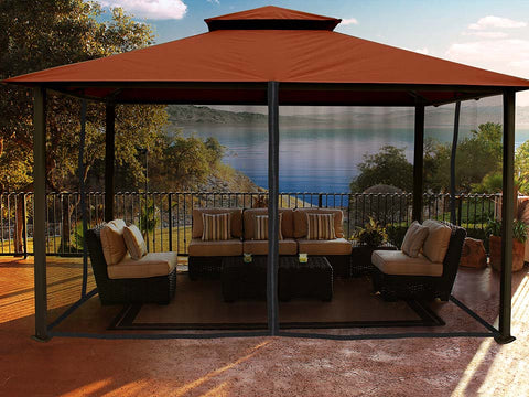 Kingsbury Gazebo with Rust Top and Mosquito Netting