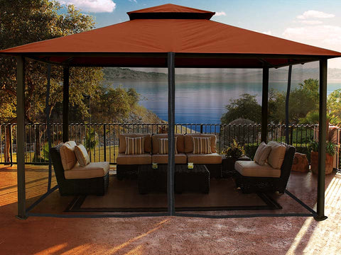 Kingsbury Gazebo with Rust Color Sunbrella Top and Closed Mosquito Netting