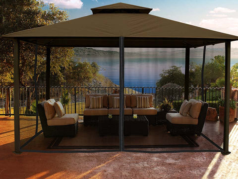Kingsbury Gazebo with Cocoa Color Sunbrella Top and Closed Mosquito Netting