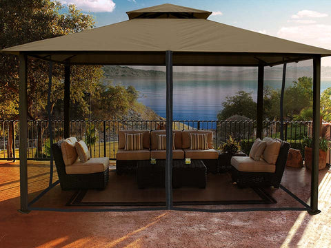 Kingsbury Gazebo with Sand Top and Closed Mosquito Netting