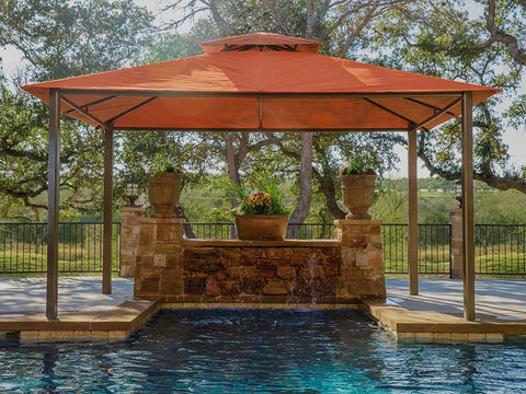 A pool under Kingsbury Gazebo with Rust Sunbrella Top