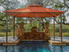 Image of A pool under Kingsbury Gazebo with Rust Sunbrella Top