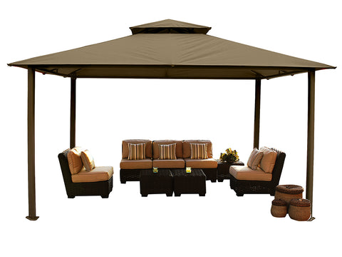 Kingsbury Gazebo with Cocoa Top and without Mosquito Netting