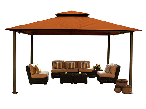 Bare Kingsbury Gazebo with Rust Color Sunbrella Top Wihout Mosquito Netting