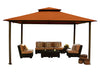 Image of Bare Kingsbury Gazebo with Rust Color Sunbrella Top Wihout Mosquito Netting
