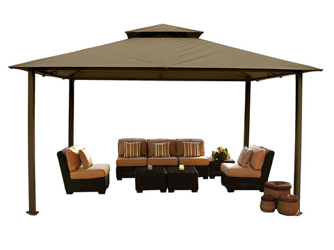 Kingsbury Gazebo with Cocoa Color Sunbrella Top and without Mosquito Netting