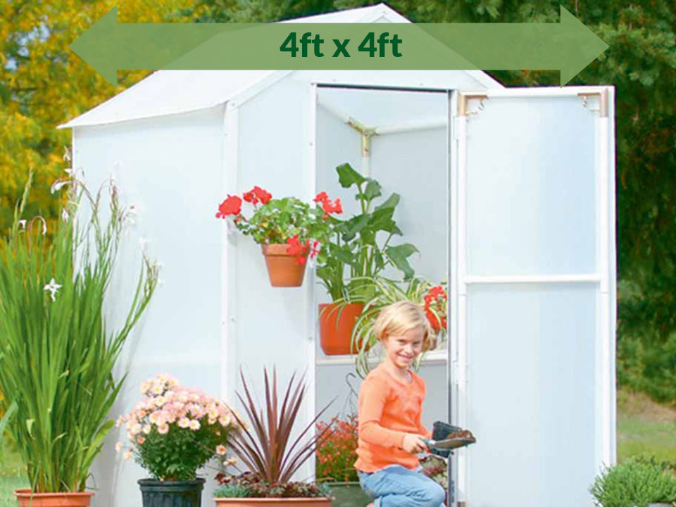 Solexx 4ft x 4ft  Lit'l Propagator Greenhouse G-102 - open doors with plants and flowers in and out of the greenhouse - green arrow on top showing dimensions