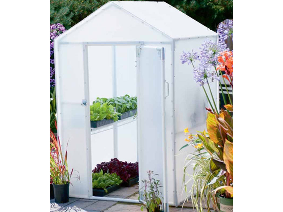 Solexx 4ft x 4ft  Lit'l Propagator Greenhouse G-102 - open doors - with plants and flowers in and out of the greenhouse